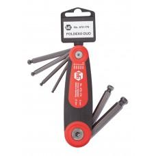 Sexkantnyckelsats HaFu vikbar mm, 2,5-10mm med kula, 7 nycklar