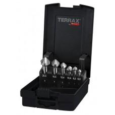Försänkarsats Terrax 3-skärig 90° med cyl. fäste, plastkassett